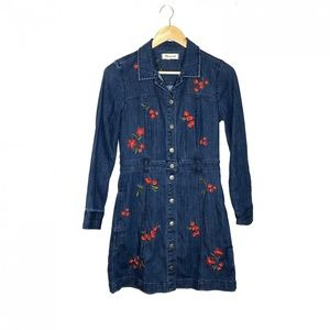 Madewell Embroidered Denim Dress Snap Front